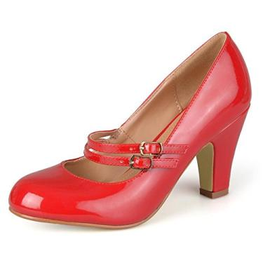 Sapato feminino de couro sintético com patente Mary Jane da Journee Collection, Red Patent Mary Jane, 6