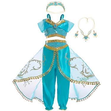 Imagem de Kantenia Crianças traje de Princesa Jasmine Roupas de desempenho Infantil Vestir Fantasia Role Two-piece