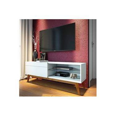 Rack para TV até 55 Polegadas 1 Gaveta Classic Retrô 52cmx146cm Imcal Branco Acetinado