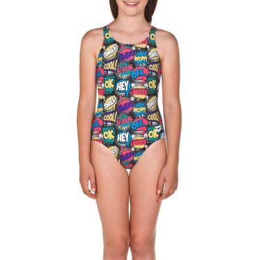 Maiô Infantil Teen Swim Pro Back Jr Preto-Colorido Tam 8-9