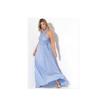 Vestido Festa Social Renda Azul Claro