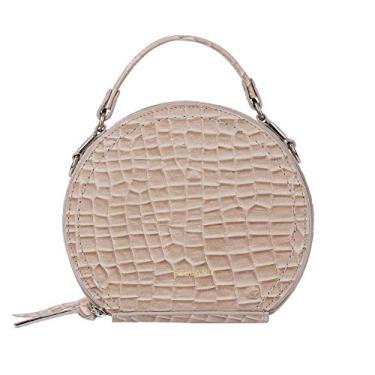 Mini bolsa redonda de couro Renata - Terracota