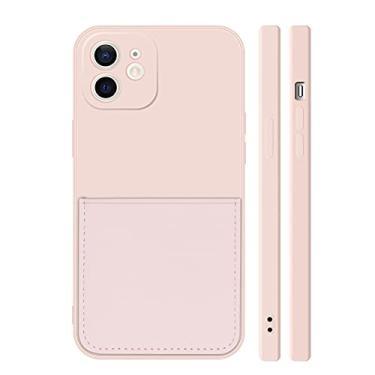 Ffish Capa carteira para iPhone 8 Plus/iPhone 7 Plus com suporte de cartão, capa de proteção total de borracha fina, areia rosa