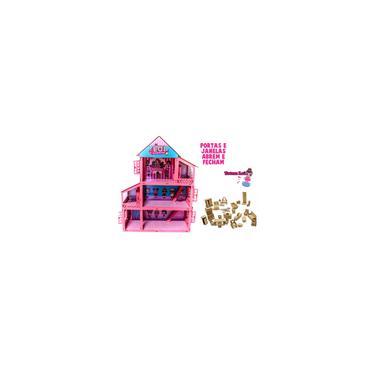Imagem de Casa Casinha De Boneca Polly Mdf Adesivada e Pintada Rosa c/ 38 Mini Móveis e Miniatura Clássicos 60