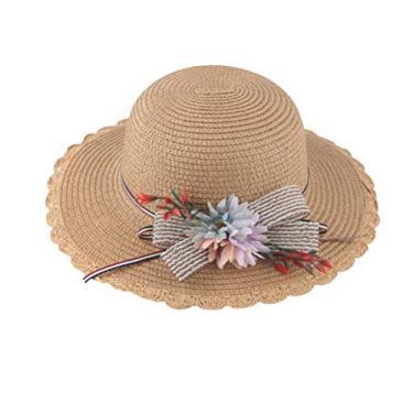 PRETYZOOM Chapéu de palha de flor chapéu de praia de verão respirável adorável chapéu de proteção solar (estampa de girassol, cáqui para adultos) chapéu de sol de verão