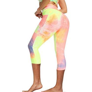 SCEINRET Calça feminina franzida cintura alta para ioga, corrida, levantamento de bumbum, tie dye, slim leggings, Amarelo, Medium