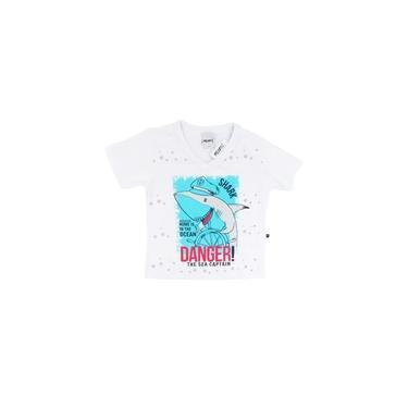 Camiseta Infantil Primeiros Passos Menino Decote Em V Shark - Minore