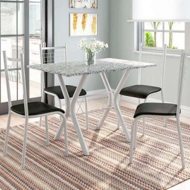 Imagem de Conjunto De Mesa Miame Com 4 Cadeiras Lisboa Branco Prata E Preto - Fa