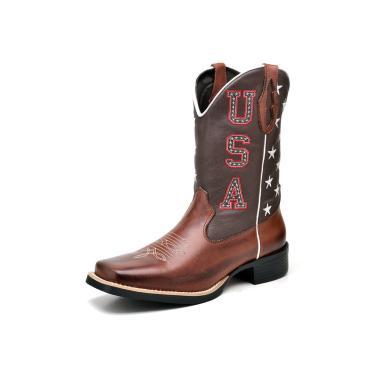 Bota Texana Click Calçados Cano Longo USA Cafe Em Couro  masculino