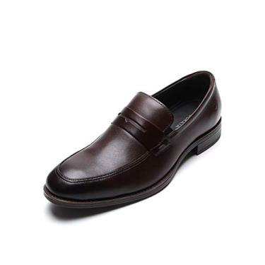 Sapato Social Masculino Couro Democrata Liso Marrom