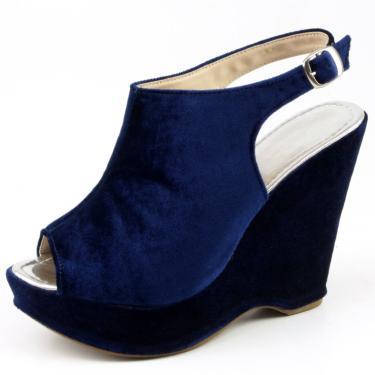 Sandália Plataforma Veludo Gisela Costa Azul-Marinho  feminino