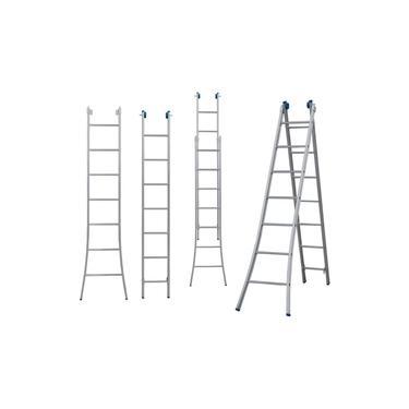Escada Extensiva Dupla De 2x7 - Alumínio 3 Em 1- 14 Degraus