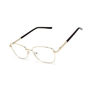 Imagem de Óculos Armação Unissex Metal Lentes Sem Grau Sk-9170 Cor: Dourado Claro