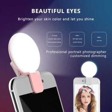 Mini selfie luzes lente do telefone móvel portátil selfie anel luz clipe led lâmpada selfie para