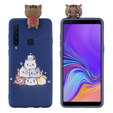 SHUNDA Capa de silicone para Samsung Galaxy A9 (2018) [película de desenho fofo 3D] capa protetora de TPU flexível com absorção de choque para Samsung Galaxy A9 (2018) - gato empilhado