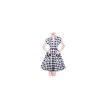 Imagem de Vestido com gola dobrável com padrão xadrez, vestido com decote em v, mistura de algodão clássico azul branco cinza vestido com gola aberta com gola e