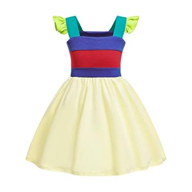 Imagem de AmzBarley menina verão sem mangas espaguete vestido casual princesa vestido de festa branco tamanho 110cm (2-3 anos)