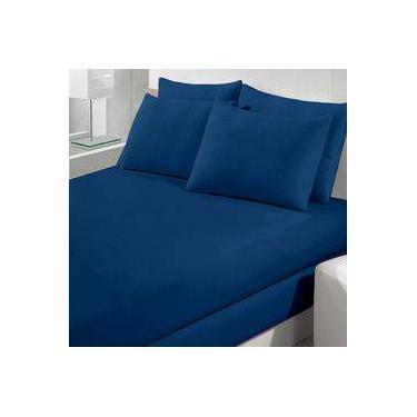 Lençol Avulso Queen com Elástico Azul Marinho - Malha 300 - Fio Penteado 30/1  - Image  - Buettner