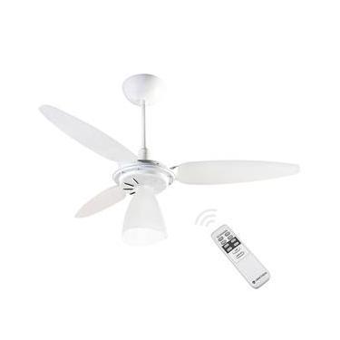 Ventilador de Teto Ventisol Wind Light com Controle Remoto 3 Pás Luminária Branco