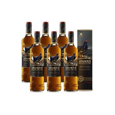 Kit 06 Unidades Whisky The Famous Grouse Smoky Black 750ml