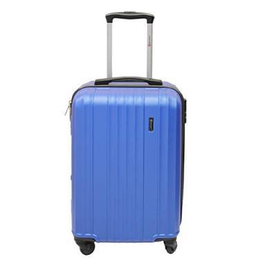 Mala de Bordo Para Viagem Com Trava de Segurança, 4 Rodinhas, Alça de Carrinho, LS MA8105 Tamanho Médio, Azul
