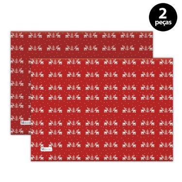 Imagem de Jogo Americano Mdecore Natal Renas 40x28 cm Vermelho 2pçs