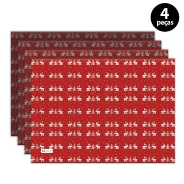 Imagem de Jogo Americano Mdecore Natal Renas 40x28 cm Vermelho 4pçs