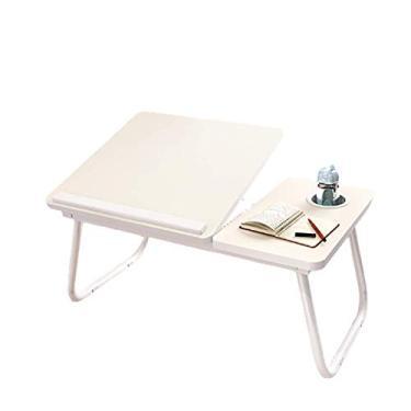 Imagem de YUDIZWS Grande mesa dobrável para laptop, bandeja de cama, bandeja de colo para café da manhã, mesa de elevação de quatro marchas, branca
