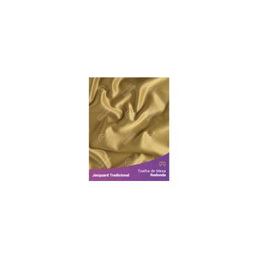 Imagem de Toalha De Mesa Redonda Em Tecido Jacquard Dourado E Preto Liso Tradicional