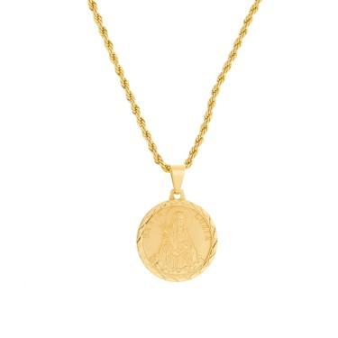 37fab9faeab112 Gargantilha Santa Luzia Com Corrente Modelo Baiana Tudo Jóias Folheada a Ouro  18k Dourada feminino