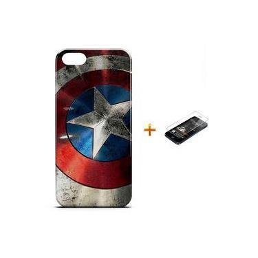 Kit Capa Case Tpu Iphone 5/5s Capitão América Avengers Vingadores + Pel Vidro (bd01)