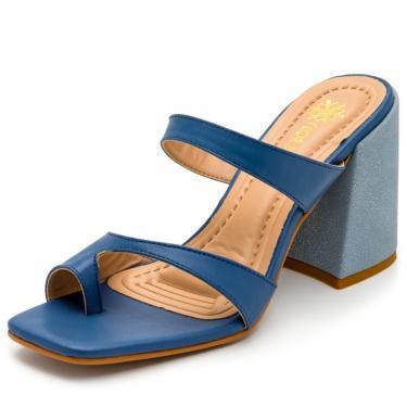 Sandália Feminina Salto Alto Bico Quadrado Em Napa Azul Jeans  feminino