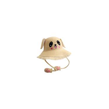 Chapéu de pescador com orelhas de coelho móveis Chapéu de sol de malha crua borda crua desenho animado