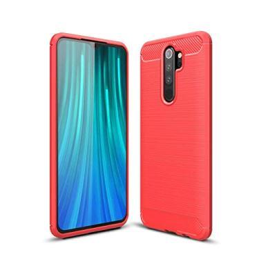 Kit Danet Capa Capinha Anti Impacto Para Xiaomi Redmi Note 8 Pro Tela 6.53Case Com Desenho Fibra De Carbono E Película De Vidro Temperado (Vermelho)