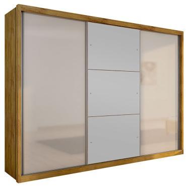 Imagem de Guarda-Roupa Casal Com Espelho 3 Portas  Paradizzo Gold- Novo Horizonte - Freijo Dourado / Off White