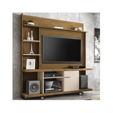 Estante Para Tv Até 47 Polegadas 1 Porta Taurus Cinamomo/off White/ripado - Bechara Móveis
