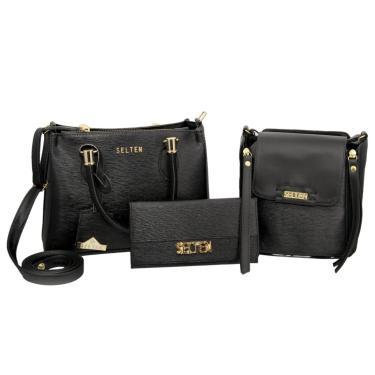 Bolsa Transversal com Bolsa Pequena e Carteira Feminina Preta Selten  feminino