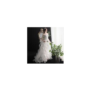 Imagem de Vestido longo cauda branco de noiva Frente curta e costas compridas C15