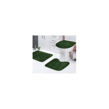 Imagem de Jogo de Tapetes Banheiro Verde Musgo Liso Padrão 3 Peças