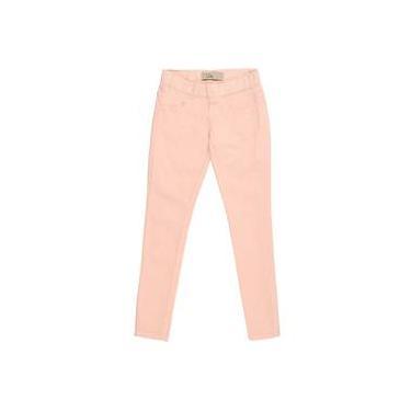 Calça infantil legging jeans rosa claro com bordado de coração no bolso jegging LUK