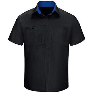 Imagem de Camisa masculina Red Kap manga curta Performance Plus Shop com tecnologia OilBlok, Black With Royal Blue Mesh, Medium