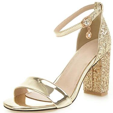 SaraIris Sandálias femininas de salto grosso – Sapatos de salto alto bloco vintage para festa casamento com tira no tornozelo sandália de verão, Dourado, 9