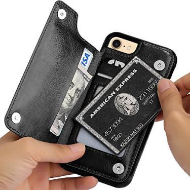 """Capa Case Carteira iPhone 7 e iPhone 8 - Multifuncional 2 em 1 - Porta cartão e case. Tamanho 4.7"""" (iPhone 7 e 8 Preta)"""