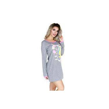0981cbd36 Camisola Unicórnio Manga Longa Feminino Pijama Malha 003