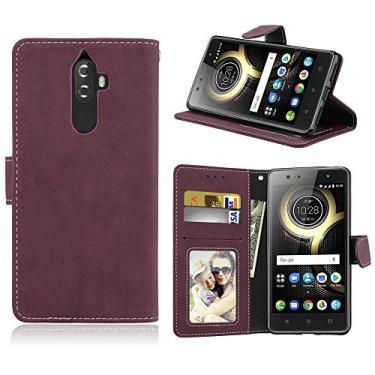 Capa para Lenovo K8 Note proteção de couro PU com 3 compartimentos para cartões capa flip (rosa)