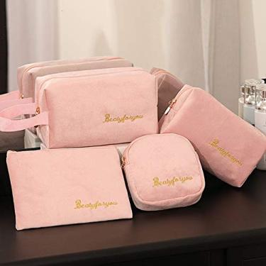 Bolsa de cosméticos bolsa de tecido de veludo preto bolsa de armazenamento multifuncional portátil bolsa de armazenamento de cosméticos-4 conjuntos (conjunto Dourado-4)