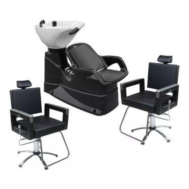 Kit 1 Lavatório Porcelana E 2 Cadeiras Reclinável Dompel Salão De Beleza Profissional