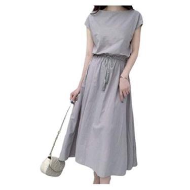 Vestido feminino VITryst com cordão e elástico na cintura e cintura franzida, Cinza, X-Large
