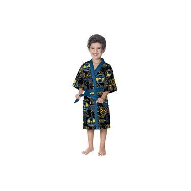 Roupão Infantil G Aveludado Quimono Batman Lepper