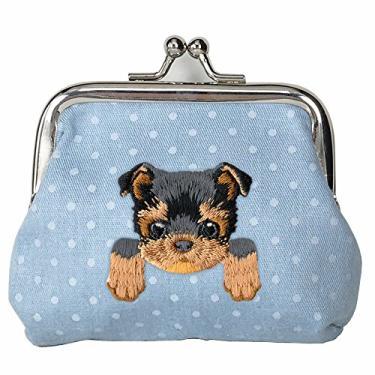 [YORKSHIRE TERRIER] Carteira de moedas com fivela de cachorro bordada fofa, Azul, Small